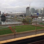 A view of downtown Vancouver from the skytrain